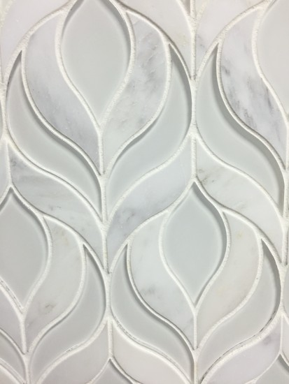 Botanica Waterjet Mosaic Tile in Arabescato Marble and Clear White Glass