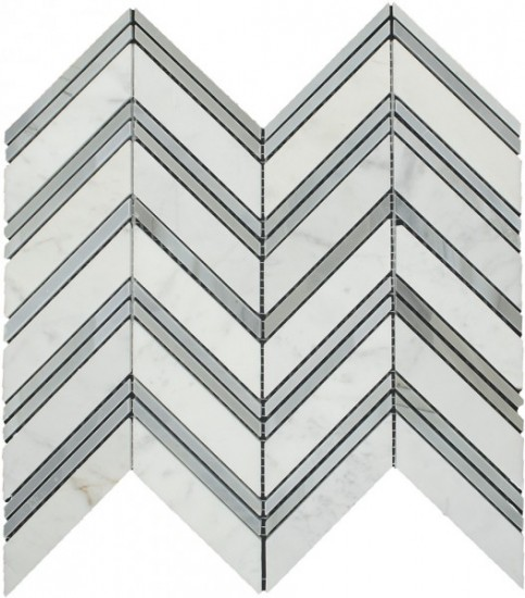 Glacier Blend Chicago Pattern Polished Mosaic Tile by Soci