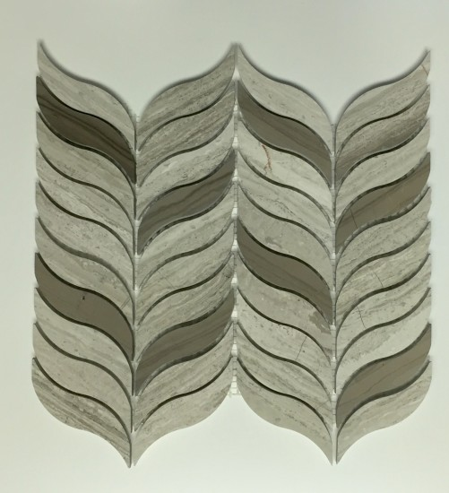 Feather III Water Jet Mosaic Tile in Oyster and Athens Grey Polished Marble