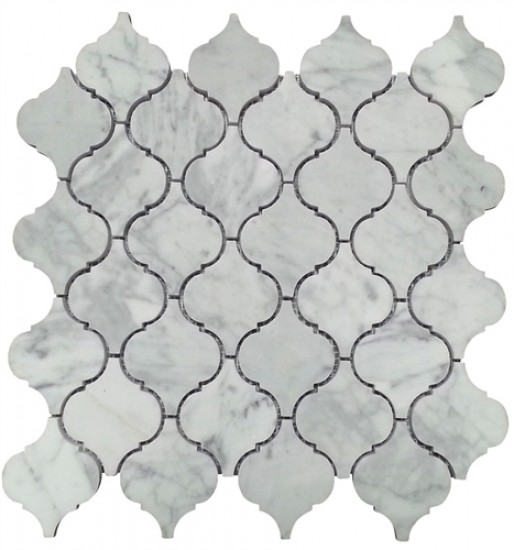 Italian White Carrara Arabesque Lantern Pattern Polished Dot Marble