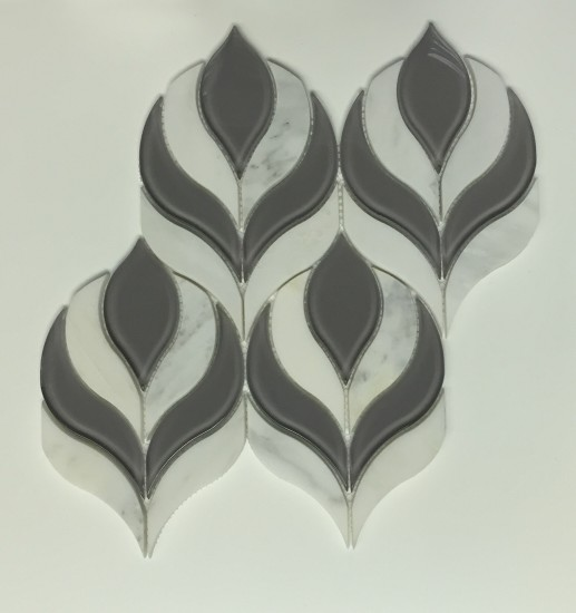 Botanica Waterjet Mosaic Tile in Arabescato Marble and Clear Grey Glass