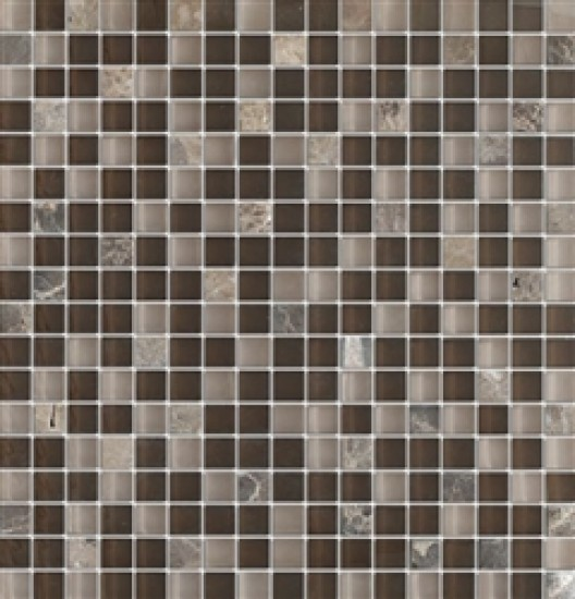 5/8 in.x 5/8 in. Quantum Dark Chocolate Blend Glass Mosaic Tile