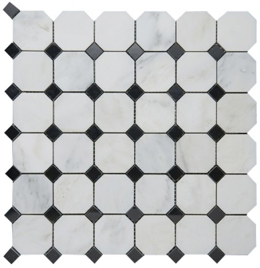 Bianco White Carrara Marble with Black dot Polished Mesh Mounted Tile in 2x2 Octagon Tile format