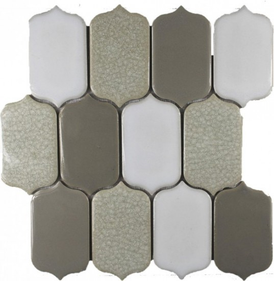 Alabaster Blend Picket Pattern Polished Mosaic Tile by Soci