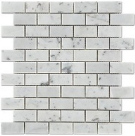 1x2 Italian White Carrara Marble Brick Pattern Polished Mosaic Tile