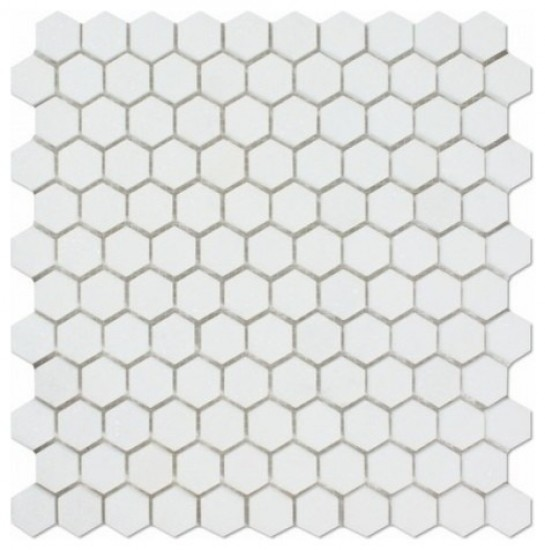 White Matte Thassos Hexagon 11 in. x 11-5/8 in. x 8 mm Natural Marble Mosaic Tile