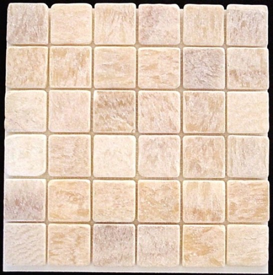 2x2 Honey Onyx  Square PatternTumbled Finish Mosaic Tile