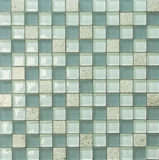 "7/8"" x 7/8"" serene lavender grey turquoise shell glass mosaic tile"