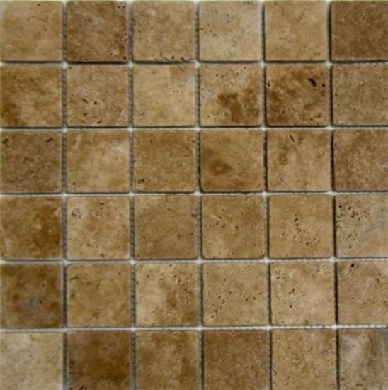 2x2 Tuscany Noce Travertine Square Pattern Tumbled Finish Mosaic Tile