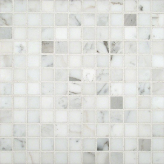 Calacatta Gold Marble 1x1 Square Polished Mesh-Mounted Mosaic Tile