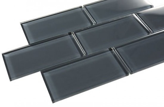 "Broadway dark slate 3"" x 6"" bathroom & kitchen backsplash glass mosaic tile"