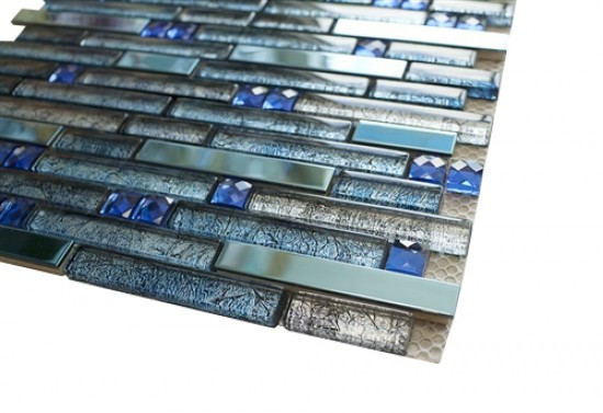 Newport Beyond Blue Random Strip Glass and Metal Tile in Linear Glass Tile Mosaic Design