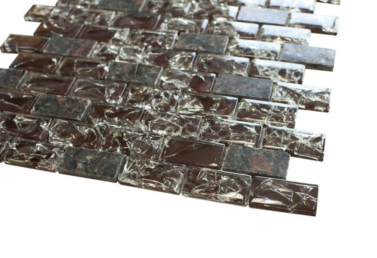 1 in. x 2 in.Burgundy cleft glass & tan brown granite mosaic tile - brick pattern