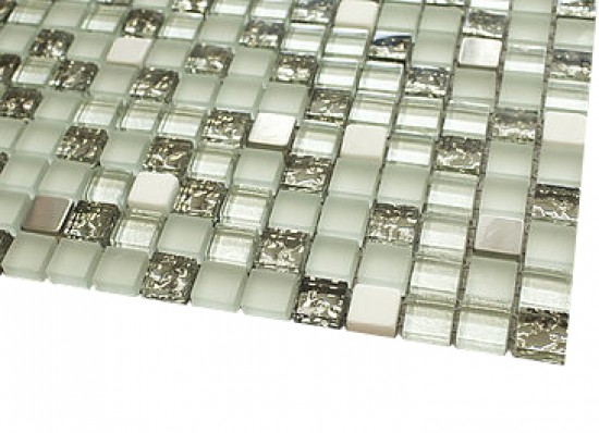 5/8 in.x 5/8 in.Quantum silver cloud blend stone & glass mosaic tile - square pattern