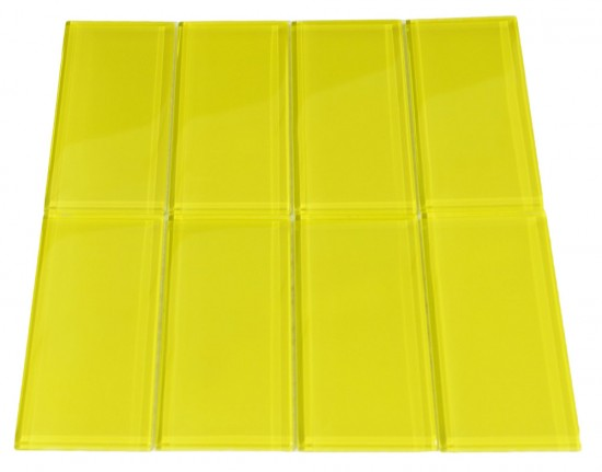 "Broadway Yellow Sulfur 3"" x 6"" glass mosaic tile Mesh-mounted for Easy Installation"
