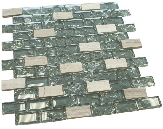 1 in. x 2 in.Dark blue cleft glass & bianco marble mosaic tile - brick pattern