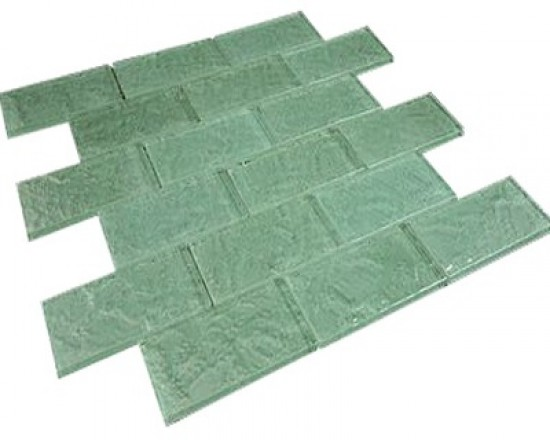 "Broadway soft mint 2""x 4"" bathroom & kitchen backsplash glass mosaic tile"