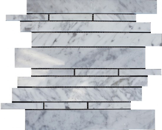 ITALIAN White Carrara Marble Large Random Pattern Polished Mosaic Tile