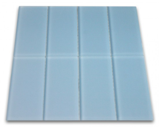 "Broadway Frosted Sky Blue Wind Matte 3"" x 6"" glass mosaic tile Mesh-mounted for Easy Installation"