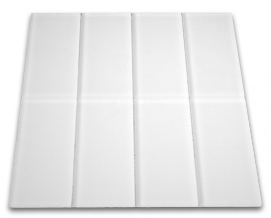 "Broadway Oxygen White Matte Finish 3"" x 6"" Subway Glass Tile"