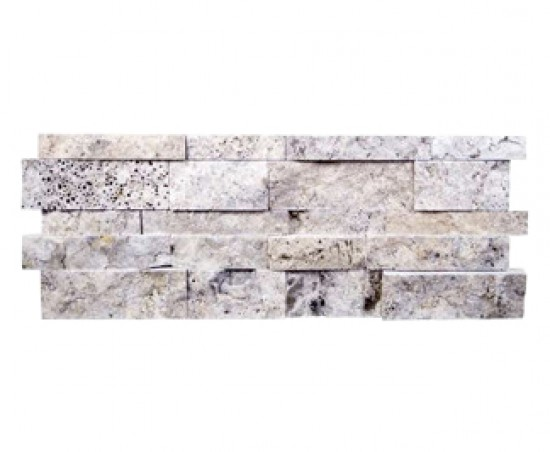 7 in. x 20 in. Silver Splitface Travertine Ledger Panels Wall Tile