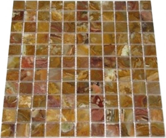 1x1 Multi Brown Onyx Square Pattern Polished Finish Mosaic Tile