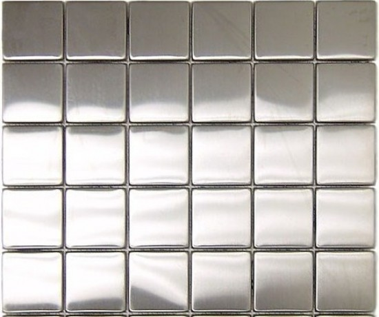 2x2 Stainless Steel Square Pattern Polished Metal Mosaic Tiles