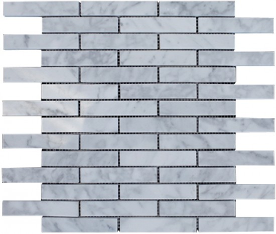 Italian White Carrara Marble 1x4 Brick Polished Mosaic Mesh Mounted Tile