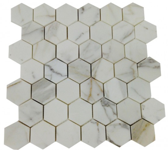 2x2 Italian Calacatta Gold Marble Hexagon Pattern Polished Mosaic Tile