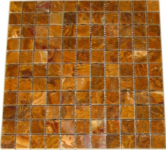 1x1 Multi Brown Gold Onyx  Square Pattern Polished Finish  Mosaic Tile