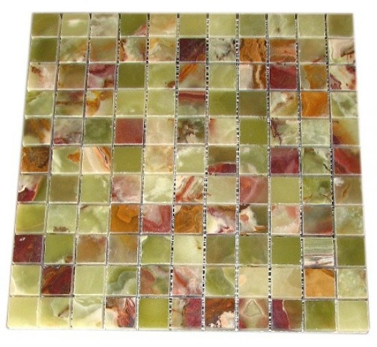 1x1 Green Onyx Polished Mosaic Tile for Kitchen Backsplash, Bathroom Flooring and Accent Wall