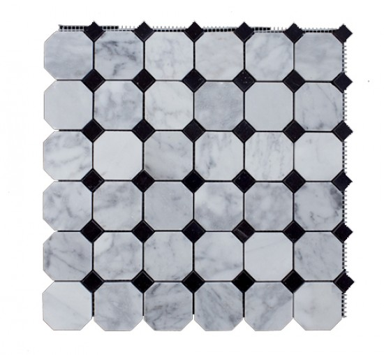 Italian White Carrara Marble Polished Mesh Mounted Tile in 2x2 Octagon Tile format With Black Dot