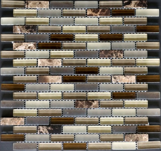 Manhattan Brown Glass Mosaic Tile in Brick Pattern Glass Stone Blend Tile