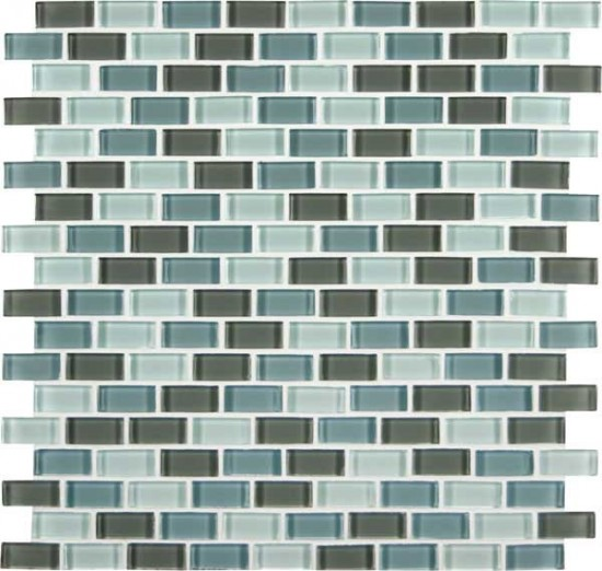 Majestic Ocean Crystallized Mini Brick Polished Glass Mosaic Tile