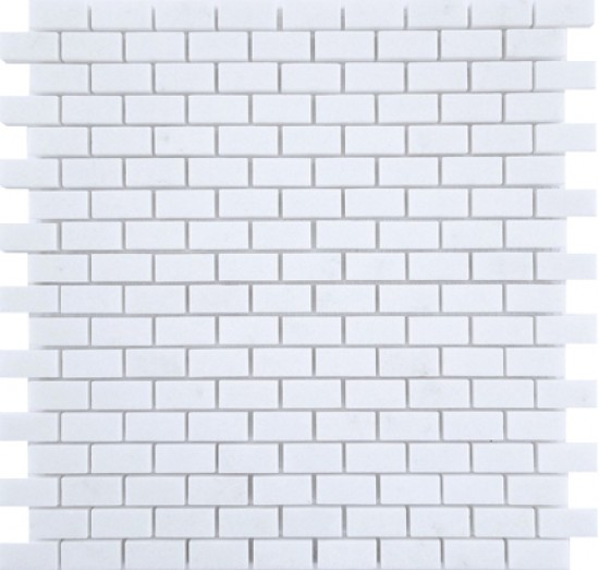 5/8 x 11/4 White Thassos Marble Mini Brick Pattern Polished Mosaic Tile