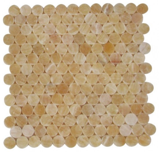 1x1 Honey Onyx Circle Pattern Polished Finish Mosaic Tile