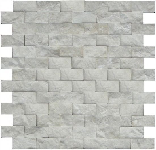 1x3 Botticino Beige Marble Brick Pattern Split Face Mosaic Tile