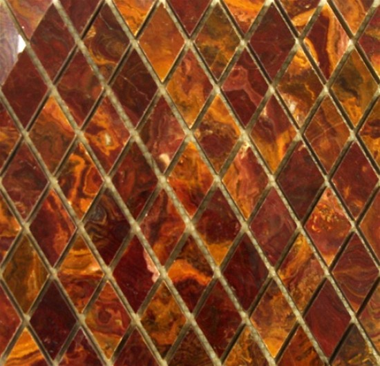 1x1 Multi Red Gold Onyx Diamond Pattern Polished Finish Mosaic Tile