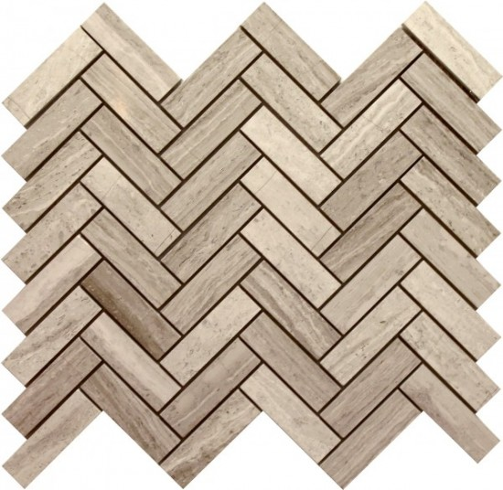 Marquette Long Herringbone Pattern Polished Mosaic Tile by Soci