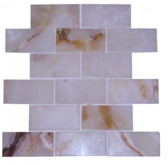2x4 White Onyx Brick Pattern Polished Mosaic Tiles