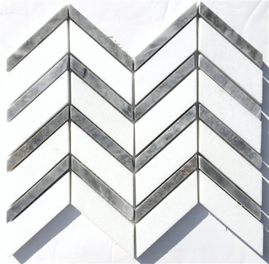 1 x 3 White Thassos Chevron Pattern Polished with Grey Marble Mosaic Tile