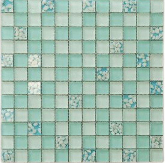 1 x 1 blue ocean square glass mosaic tile