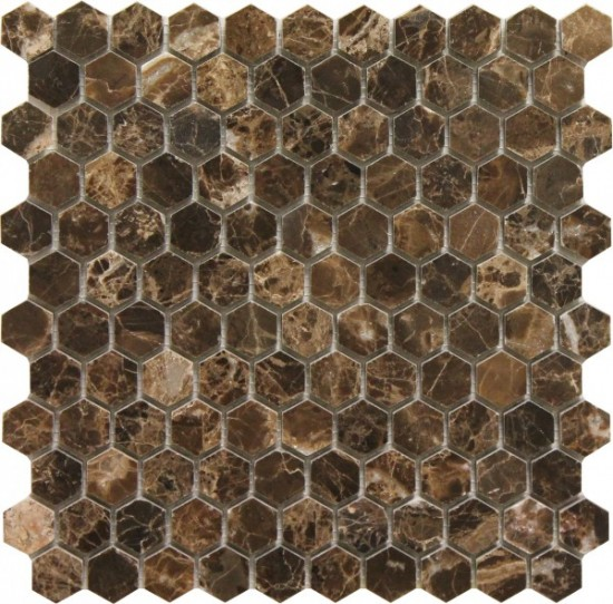 1×1 Hexagon Dark Emperador Polished Mosaic Tile by Soci