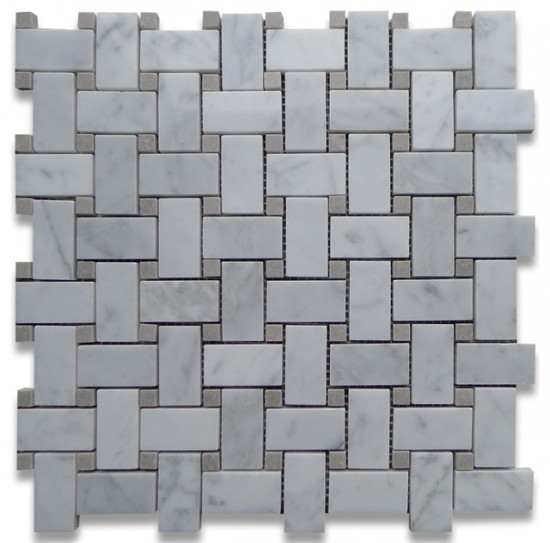 Italian White Carrara Marble with Grey Dot Polished 1x2 Basketweave Tile
