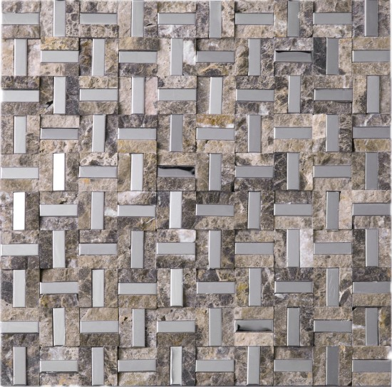 12 in. x 12 in. Maze Design Emperador Marble and Stainless Steel Mosaic Tile