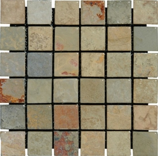 2x2 Earth Slate Square Pattern Tumbled  Mosaic Tile