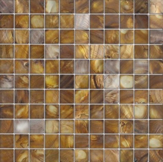 "1""x1"" Rusted shell square polished mosaic tile"