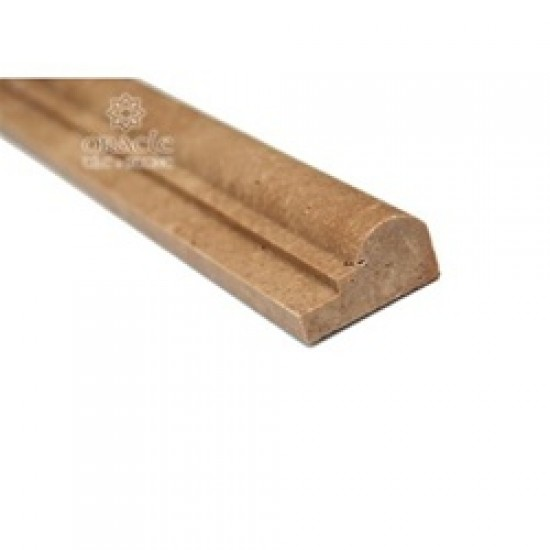 2 in. x 12 in. Noce Travertine Honed Chair Rail Decorative Molding Bull Nose Trim Single Ogee