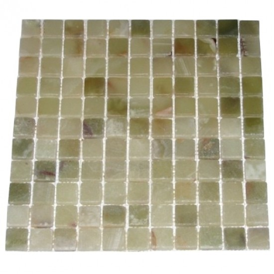 1x1 Light Green Onyx Tumbled Finish Mesh-Mounted Mosaic Tile