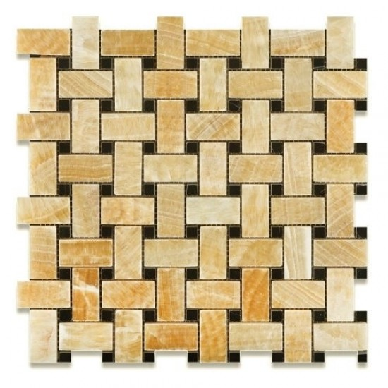 1x2 Honey Onyx Basketweave Polished Finish Mosaic Tile with 3/8 Black Dot